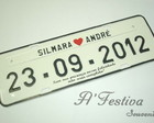 Placa Personalizada Branco Preto