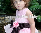 Vestido Infantil Marrom e Rosa
