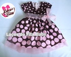 Vestido Infantil Marrom com Rosa