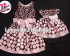 Vestido Me e Filha Marrom com Rosa