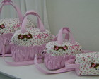KIT BOLSAS ROSA FLORIDO BONECA