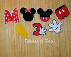 Apliques no palito - Minnie e Mickey
