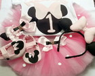 Kit Festa fantasia Minnie Rosa COMPLETO