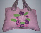 BOLSA ROSA GRANDE COM FLORES