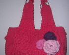 BOLSA ROSA PEQUENA COM FLORES