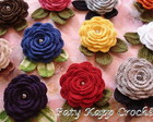Broche Flores de Croch com Folhas