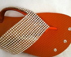 Havaiana customizada com manta de strass