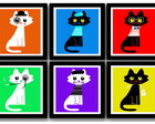 Kit 6 Quadros Gatos Pop Art