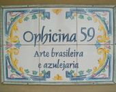 placa para comercio em azulejo