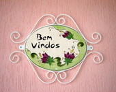 Placa Decorativa &quot;Bem Vindos&quot;