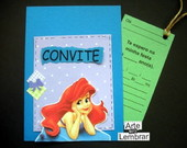 CONVITE SCRAPBOOK  - PEQUENA SEREIA