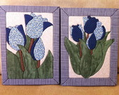 Conjunto de quadros tulipas azuis