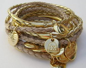 PULSEIRA 10 MANDAMENTOS NUDE E DOURADO