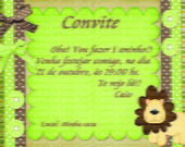 Convite selva ( safari) com  envelope
