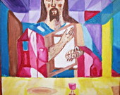 Pintura s/tela:Cristo na mesa