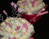 Buqu� de marshmallows rosa antigo