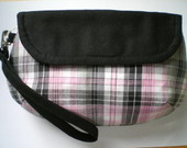 Clutch Xadrez Rosa e Preto