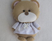 Urso de Pijama Bege 10cm