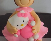 Topo de bolo - Menina com Hello Kitty!!!