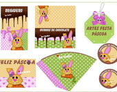 Arte kit festa P�scoa colorida