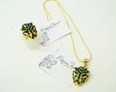 Conjunto Colar e Anel Tigre Strass Verde