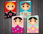 Notecard Matrioska - Set com 4 cart�es