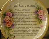 Pintura em porcelana - Prato decorativo com Oração Dos Casais