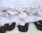 Pano De Prato   Bico Crochet Galinhas