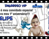 Convite Ingresso Smurfs
