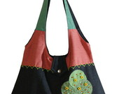 Bolsa em patchwork jeans colorido