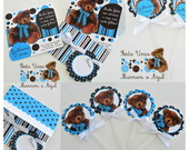 Kit Festa Person.Urso Marrom com Azul
