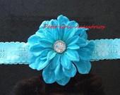 Faixa flor azul turquesa