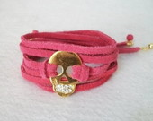 Pulseira De Couro Caveira - Pink