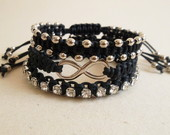 Conjunto Pulseiras Preto e Prata