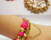 Pulseira Fluo Rosa e Spikes II