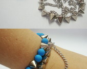 Pulseira Fluo Azul e Spikes