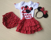 CONJUNTO MINNIE SAIA TECIDO