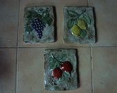 TRIO DE PLACAS DE FRUTAS