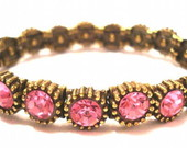Pulseira Ouro Velho Strass Rosa
