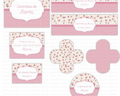 Kit digital Floral - Rosa e bege