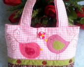 Bolsa Infantil Passarinhos Rosa/Marrom