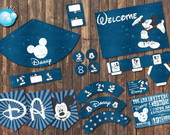 Festa Digital Mickey Disney Navy Azul