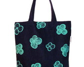 Ecobag jeans floral verde