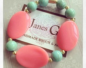 Pulseira Sweet Coral & Turquese