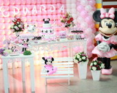 Loca��o Mesa Decorada Minnie Rosa