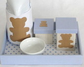 Kit Higiene Completo - Urso Azul E Bege