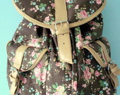 Mochila 2 Bolsos Floral Chocolate