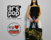 Bolsa em Lona Estampada Carpa Dour/Preta