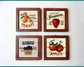 Jogo de Quadros Frutas Vintage