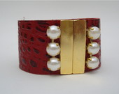 P1949 - Bracelete couro vermelho bord